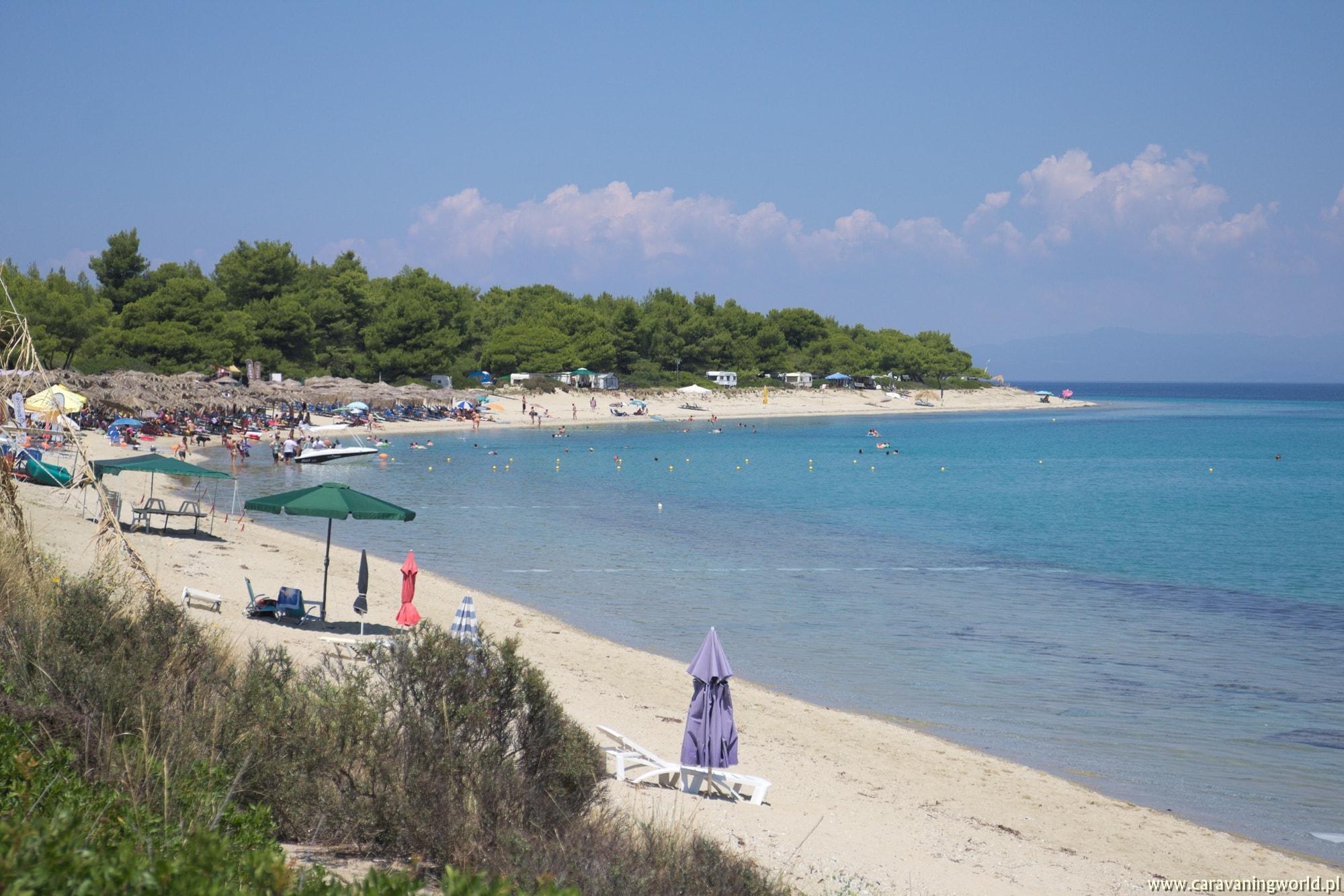 Plaża przy naszym biwaku na półwyspie Kassandra
